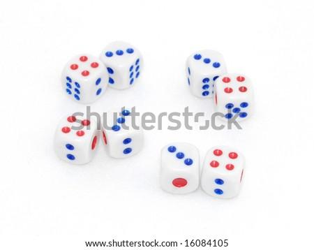 many dices. close-up - stock photo