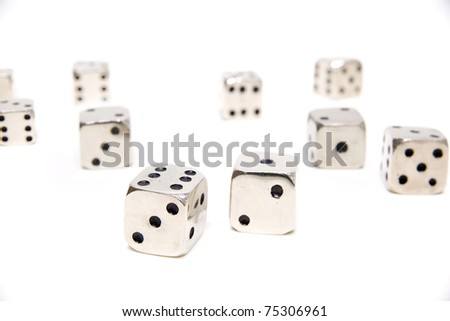 many dices over a white background