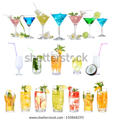 Many different alcoholic cocktails isolated on white