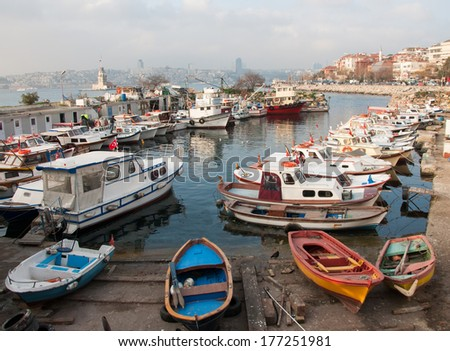 many different boats and ships - stock photo
