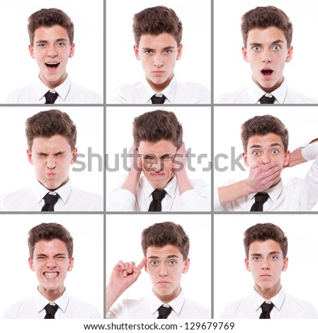 many different boy expressions; collage - stock photo