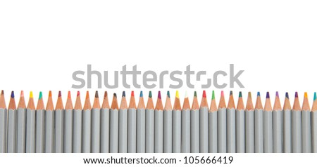 Many different color pencils on white background - stock photo