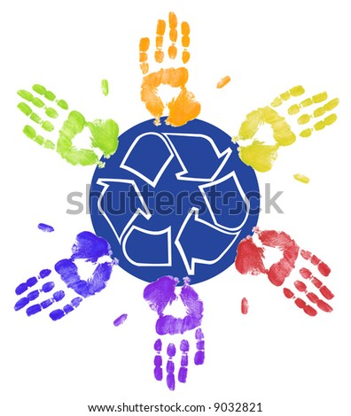 many different colored hands working to recycle together - stock photo