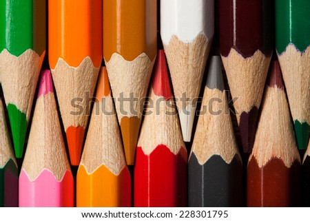 Many different colored pencils. Close-up macro. - stock photo