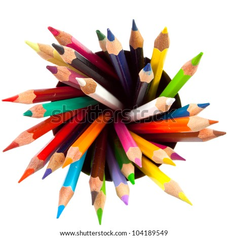 many different colored pencils with white background - stock photo