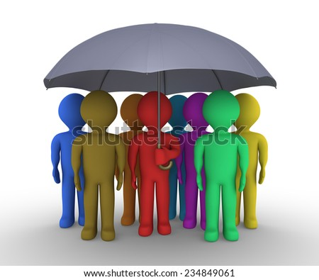 Many different colored people are under an umbrella - stock photo
