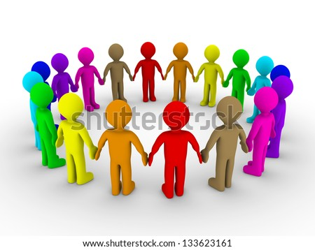 Many different colored people form a circle