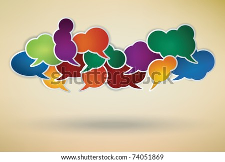 many different colored speech bubbles as a social network symbol