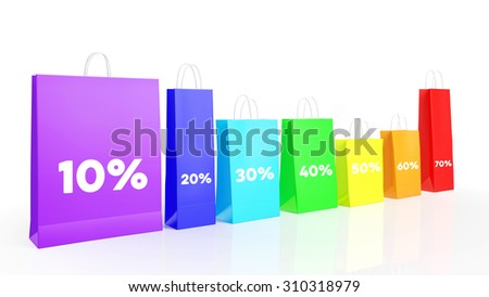 Many different colorful shopping bags with discount symbols (3D Rendering)