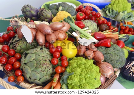 many different ecological vegetables on market table
