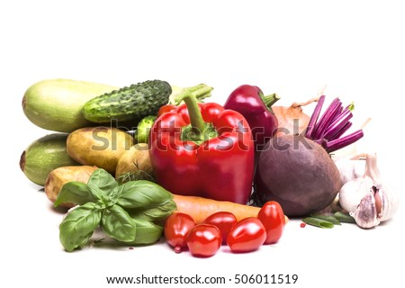 many different fresh cut garden vegetables