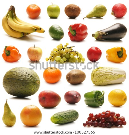 Many different fruits and vegetables isolated on white - stock photo