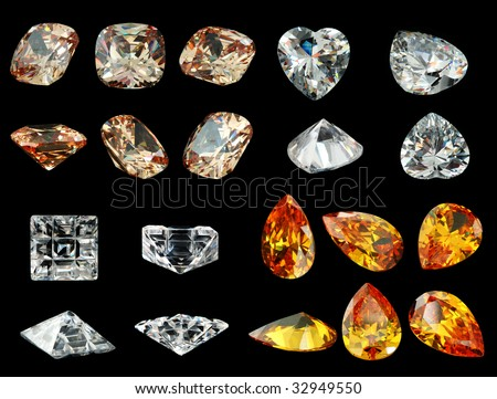 Many different gemstone isolated on black background - stock photo