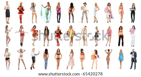 Many different girls isolated on white background - stock photo