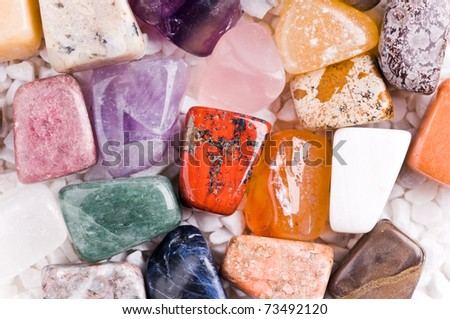 many different natural stones in beautiful colors - stock photo