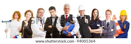 Many different occupations standing as a team group - stock photo