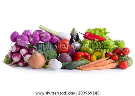 Many different ripe vegetables healthy eating vegetarian isolated. large depth of field of the frame - stock photo