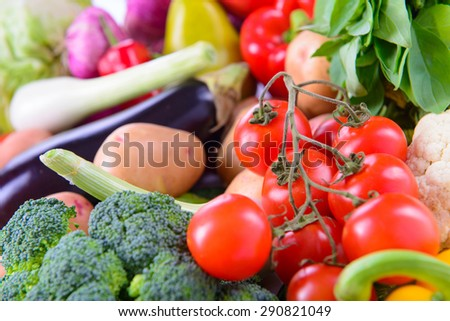 Many different ripe vegetarian vegetables close up - stock photo