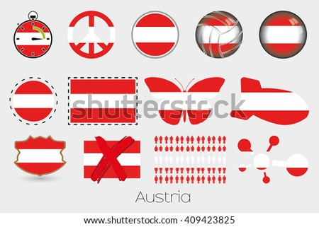 Many Different styles of flag for Austria