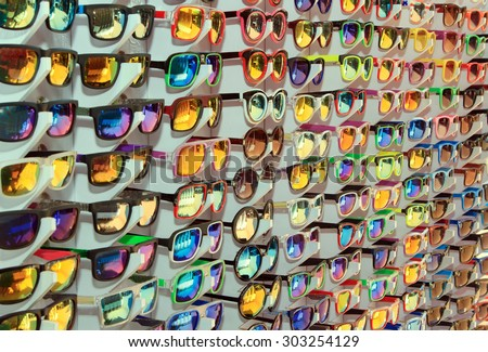 Many different sunglasses at the sale - stock photo
