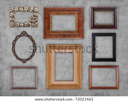 Many different type of frames on the wall - stock photo