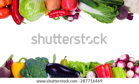 Many different vegetarian vegetables like frame. isolated on white background - stock photo