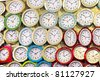 Many different wall clock on the wall - stock photo
