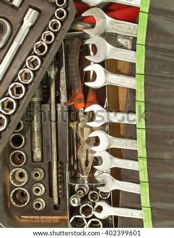 Many dirty set of hand tools on a vintage background.  Tools and wrench - stock photo