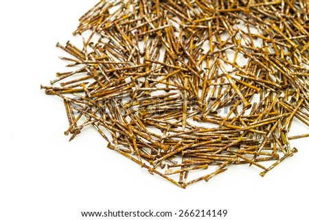 Many division rusty tack  stack on white background - stock photo