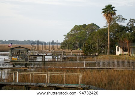 Many docks reaching to the water on the intercoastal waterway