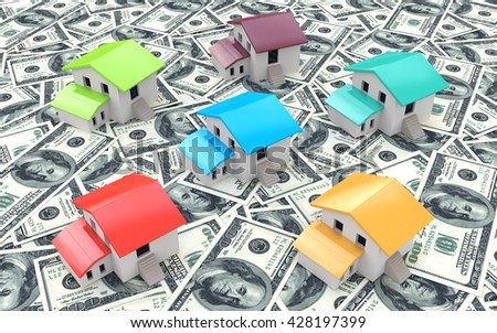 Many dollar banknotes and models of houses, concept of buying a house in the design of information related to the purchase of real estate. 3d illustration - stock photo