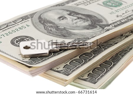 Many dollar bills are superimposed in the stack - stock photo