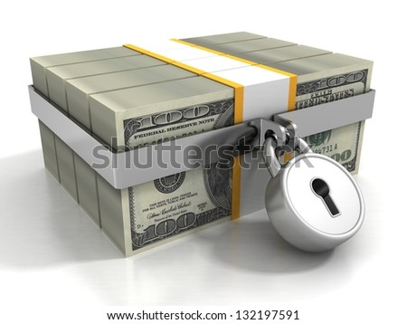 many 100 dollar packs locked by safety padlock - stock photo