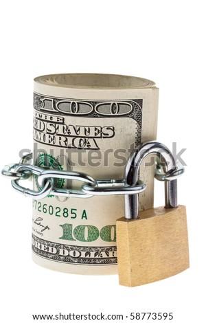 Many dollars bills are locked with a lock - stock photo