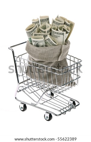 Many dollars bills in a sack - stock photo