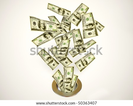 many dollars go down on whote background - stock photo