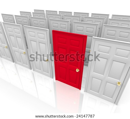 Many doors stand before you... do you choose the red one? - stock photo
