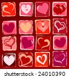 many drawn hearts in white, red, pink, purple, violet, orange, beige over wine-red background - stock vector