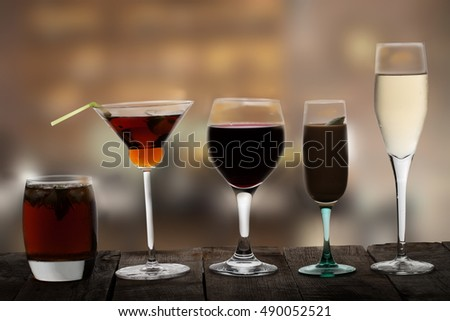 many drinks over table