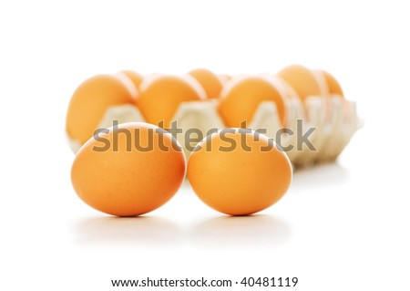 Many eggs isolated on the white background