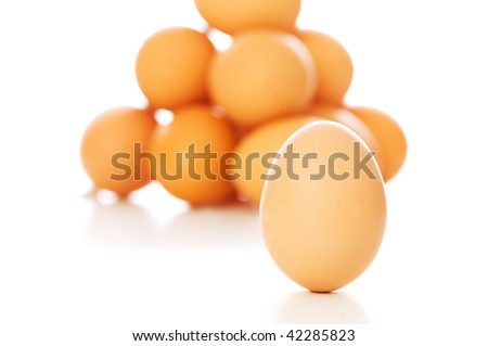 Many eggs on white - shallow depth of field