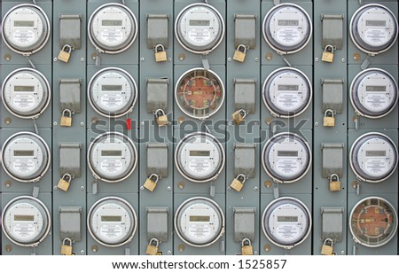 Many Electric Meters at Apartment Complex - stock photo