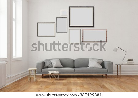 Many empty frames hanging over the sofa in a living room (3D Rendering) - stock photo