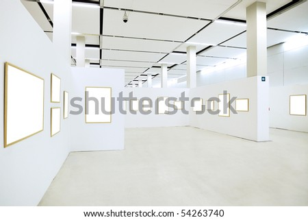 Many empty frames in free museum - stock photo