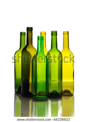 Many empty green wine bottles isolated on white background - stock photo