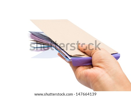 Many envelopes in hand. Isolated on white with clipping path. - stock photo