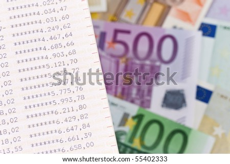 Many Euro bank notes with blue - stock photo