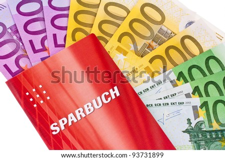 many euro banknotes and savings accounts. against a white background