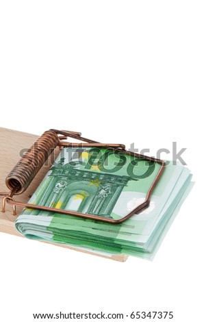Many Euro banknotes in a mousetrap.