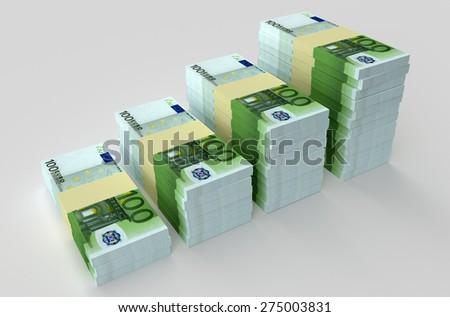 Many euro banknotes. Money and business concepts - stock photo